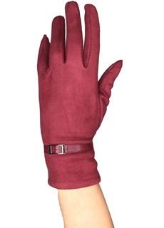 перчатки сенсорные под замшу цвета бордо марсала фото