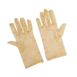 Бежевые короткие гипюровые перчатки - фото 14357