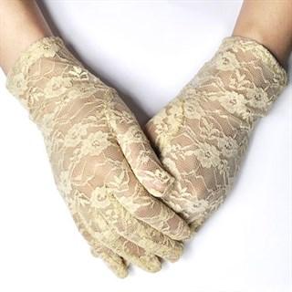 Бежевые короткие гипюровые перчатки