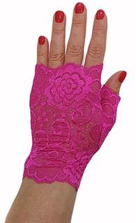Короткие кружевные перчатки митенки. Ярко-розовые