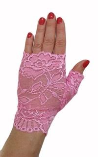 Короткие кружевные перчатки митенки. Розовые фото