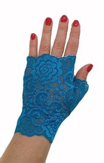 Короткие кружевные перчатки митенки. Голубые