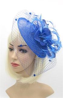 шляпка с перьями на заколке Рейчел. Ярко-синяя фото