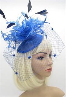 Синяя шляпка Сандра с вуалью фото