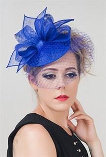 Синяя шляпка с вуалью Николь