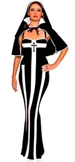 Длинное платье монахини с накидкой