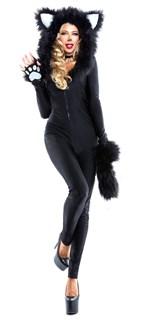 Маскарадный костюм кошечки. Комбинезон с капюшоном