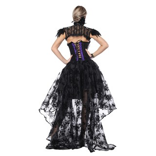 Ассиметричная юбка в пол с напылением. Черная - фото 14756