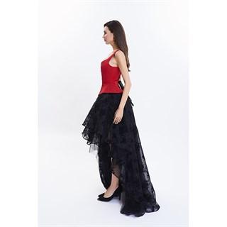 Ассиметричная юбка в пол с напылением. Черная - фото 14758