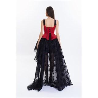 Ассиметричная юбка в пол с напылением. Черная - фото 14759