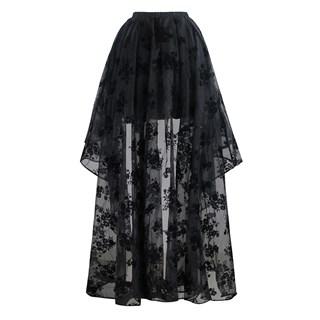 Ассиметричная юбка в пол с напылением. Черная - фото 14760