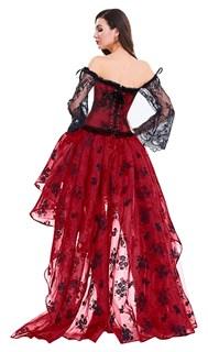 Ассиметричная юбка в пол с напылением. Красная - фото 14770