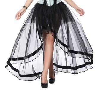 Ассиметричная юбка из органзы с лентой. Черная