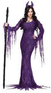 Фиолетовое длинное платье ведьмы