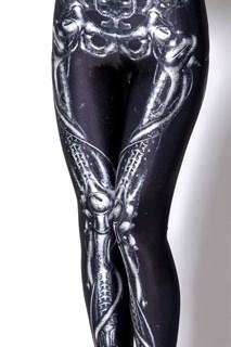 Легинсы для костюма скелета. Кости+сосуды. Черные