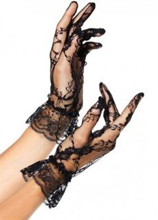 Короткие черные кружевные перчатки