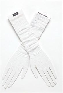 Длинные белые перчатки, тонкое вязаное кружево - фото 14844