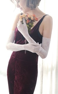 Длинные белые перчатки, тонкое вязаное кружево - фото 14845