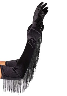 Длинные атласные перчатки с бахромой. Черные