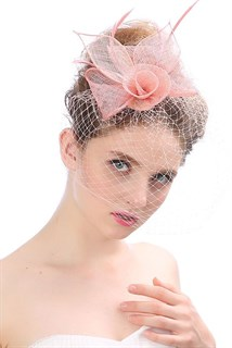 Цветок из синамей с вуалью. Розовый