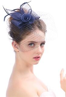 Цветок из синамей с вуалью. Темно-синий