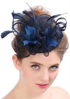 Шляпка из соломки Вивиан. Темно-синяя