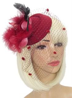 Шляпка с вуалью и пушистым цветком Жанет. Бордо