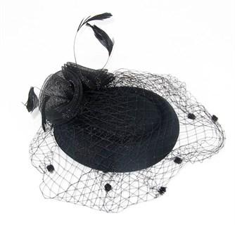 """Шляпка с вуалью """"Жанет"""". Черная - фото 15142"""