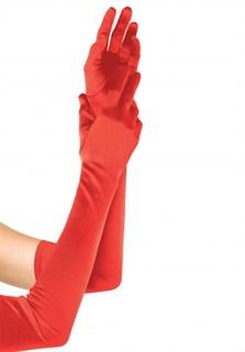 Длинные красные атласные перчатки. 55 см