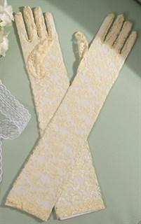 Длинные перчатки гипюр 60 см. Бежевые