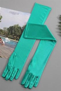 Длинные атласные перчатки 50 см. Изумруд