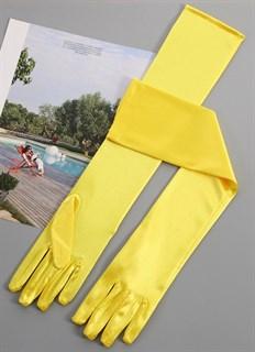 Длинные атласные перчатки 50 см. Желтые