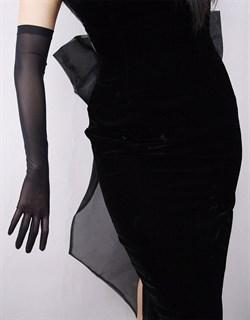 Черные длинные прозрачные перчатки. 57см