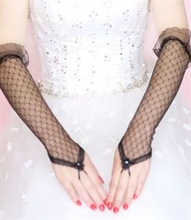 Черные прозрачные перчатки на один палец