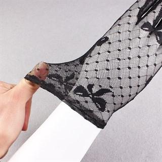 Короткие прозрачные перчатки с бантиками. Черные - фото 15261