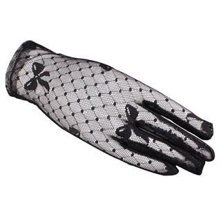 Короткие прозрачные перчатки с бантиками. Черные