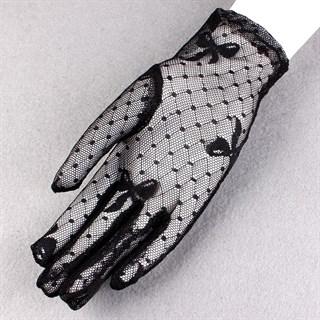 Короткие прозрачные перчатки с бантиками. Черные - фото 15263