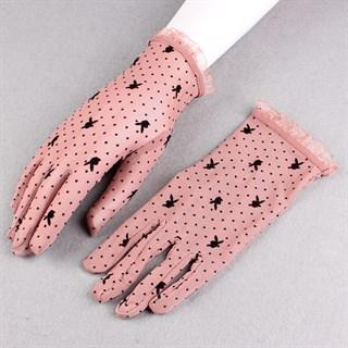 Короткие прозрачные перчатки с плейбойчиками - фото 15280