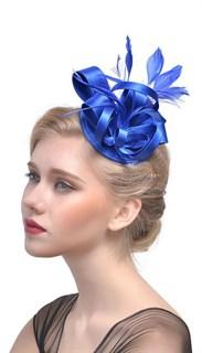 Маленька атласная шляпка таблетка Кристи. Синий