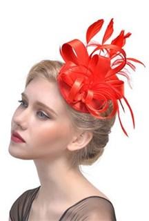 Маленька атласная шляпка таблетка Кристи. Красный