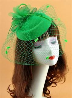 Шляпка с вуалью Жанна. Зеленая