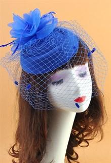 Шляпка с вуалью Жанна. Синяя