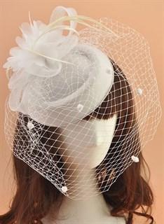 """Шляпка с вуалью """"Жанет"""". Белая"""