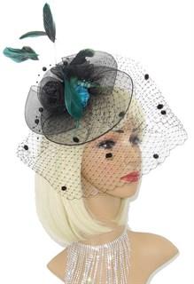 Черная шляпка из регилина с вуалью и бирюзовым цветком