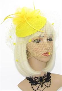Шляпка с вуалью Жанна. Желтый