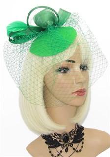 Шляпка таблетка с вуалью Линда. Зеленая