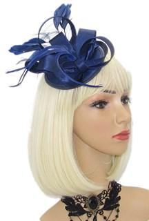 Маленька атласная шляпка таблетка Кристи. Темно-синяя