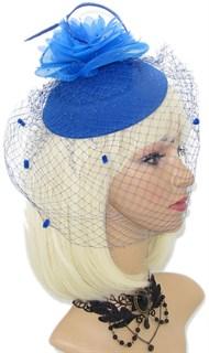 """Шляпка с вуалью """"Жанет"""". Синяя"""