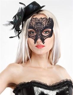 Кружевная маска на глаза Черный Череп