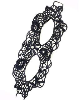 Черная кружевная маска узкая 2596